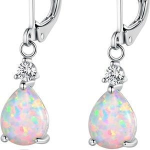 White Gold Plated Teardrop Opal Dangle Earrings